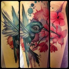 Water color bird Tattoo by Kelly Doty