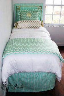 Mint and Metallic Custom Dorm Room Bedding Mint Glitz Designer Bed In A Bag Set