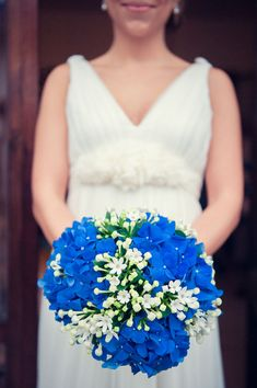 Beautiful Round Bridal Bouquet Comprised Of: Blue Hydrangea (Hortensia) & White Bouvardia + Buds××××