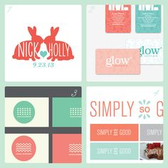 Mint + Coral branding and logos
