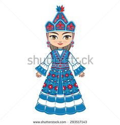 The girl in Kyrgyz dress. Historical clothes. -