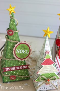 3D Christmas Trees made from @echoparkpaper Home for the Holidays kit and @silhouettepins