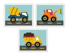 Perfect trio, construction theme, truck, tractor, blue, orange, red, transportation, cars, set of 3, Nursery or children's room artwork
