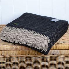 Tweedmill Vintage Charcoal Black and Beige Herringbone / Fishbone Pure New Beige Throws, Wool Throws, Charcoal Color, Charcoal Black, Vintage Wool, Black Wool, Herringbone, Textiles, Pure Products