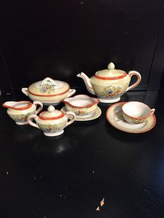 Vintage Antique Child'S TEA SET Hand Painted Made IN Japan 10 Pieces | eBay