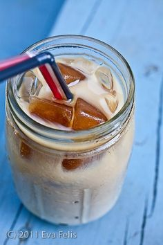 iced coffee with coffee ice cubes so your drink won't get watered down.