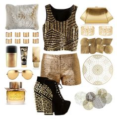 """""""Be bold go gold"""" by sukhaulakh on Polyvore featuring Lanvin, Jeffrey Campbell, Pier 1 Imports, Maison Margiela, MAC Cosmetics, Burberry, Linda Farrow, ZAC Zac Posen, Charlotte Russe and Driade"""