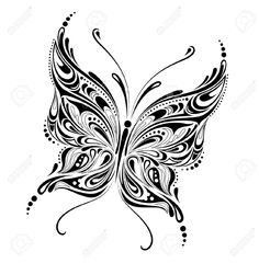 Buy Abstract butterfly design by silvertiger on GraphicRiver. Vector illustration of a beautiful abstract butterfly isolated on white background. Black silhouette of a butterfly i. Butterfly Sketch, Butterfly Design, Lace Butterfly Tattoo, Butterfly Logo, Zentangle, Mural Floral, Embroidery Designs, Embroidery Hoops, Silkscreen