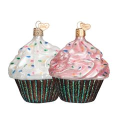 Brighten any special occasion with this beautiful glass ornament which was carefully mouth-blown into a finely crafted mold. A hot solution of liquid silver was poured inside, and finally, it was hand-painted and glittered for you to enjoy and cherish as a holiday heirloom! #specialoccasion #chocolatecupcake #cupcake #foodie #foodieornament #bakinggifts #birthdaygiftidea #happybirthday #glassornament #oldworldchristmas  Assorted Chocolate Cupcake (Item #32195) Bestseller!