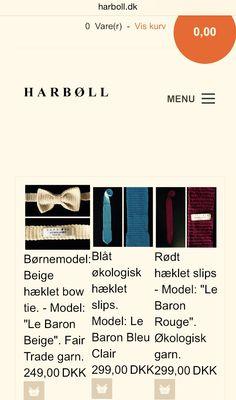 På www.harboll.dk sælger vi lækre slips og bow ties, der er produceret i Danmark og som er lavet af kvalitetsgarn som vi selv har udvalgt og som både er økologisk og bæredygtige. Hvert produkt er hæklet af 100 % økologisk garn, der er farvet med bæredygtige farvestoffer i henhold til GOTS (Global Organic Textile Standards). Det indebære, at den certificerede økologiske uld er dyrket og produceret på en miljømæssig og social ansvarlig måde.