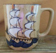 "Vintage Stoneware Mug with Sailing SHIP Japan 3 5"" | eBay"