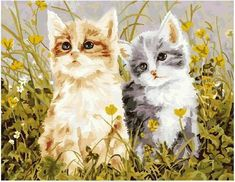 Lovely Cats - Easy DIY Paint by Numbers Kits - OwlCube Canvas Wall Art