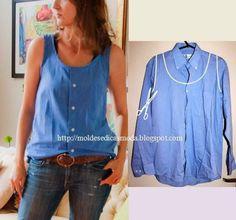 Simpel mouwloos bloesje van een blouse met lange mouwen
