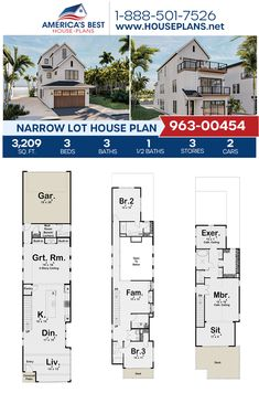 Plan 963-00454 delivers a Narrow Lot home design complete with 3,209 sq. ft., 3 bedrooms, 3.5 bathrooms, a kitchen island, an open floor plan, an exercise room, a living room, a mudroom, and a sitting room. #narrowlot #architecture #houseplans #housedesign #homedesign #homedesigns #architecturalplans #newconstruction #floorplans #dreamhome #dreamhouseplans #abhouseplans #besthouseplans #newhome #newhouse #homesweethome #buildingahome #buildahome #residentialplans #residentialhome Narrow Lot House Plans, Best House Plans, Dream House Plans, City Living, Living Room, Workout Rooms, Open Floor, New Construction, Mudroom