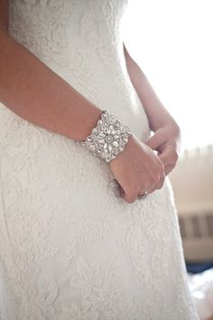 Bridal cuff bracelet wedding bracelet wedding by Tatishotties, $150.00