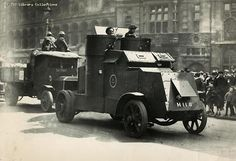 Strike breakers carry food supplies in an armed car General Strike, World War One, Socialism, Panzer, Historical Pictures, Armored Vehicles, Social Science, Military, China