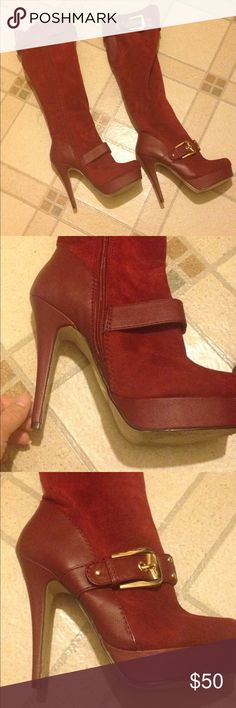 Red knee high platform boots Red knee high platform boots in excellent used condition only worn one time. Has a cute buckle detail by the foot and the knee smoke-free pet free home Shoe Dazzle Shoes Heeled Boots