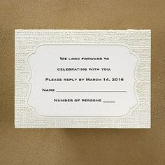 Burlap Border Respond Card and Envelope weddingneeds.carlsoncraft.com