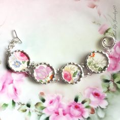Broken China Jewelry. Broken China Bracelet, Statement Jewelry, Circa 1930's China, Pink, Purple, Blue Flower, Recycled, Link, Antique China