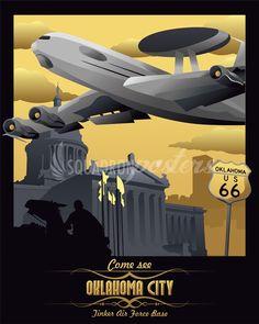 Tinker AFB, E-3 AWACS vintage travel poster
