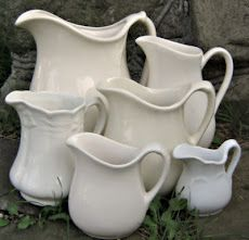 Why do I love white pitchers? I just love ironstone and love the large white pitcher we found for Krista at goodwill.she's a beauty. Vintage Dishes, Vintage Kitchen, Vintage Items, Antique Dishes, White Dishes, White Pitchers, Shabby Chic Stil, Shades Of White, Vintage Pottery