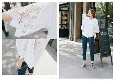 Elegant street style laced round neck shirt (Free Size in White/ Gray) #Fashion #Lace #ShippingWorldwide
