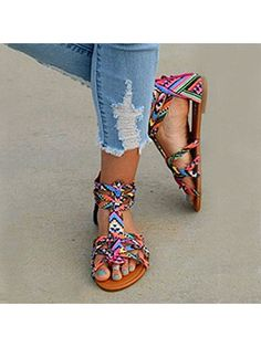 e7b252efc Floral Flat Ankle Strap Peep Toe Casual Gladiator Sandals