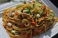 ~Mongolian Noodles~ Simple, flavorful noodles, fresh veggies and amazing Asian flavor, these make a great side or even main dish.
