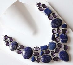 Lapis Lazulie and Amethyst Necklace 925 Silver Necklace Statement Necklace Natural Gemstone Necklace Big Necklace Birthstone Necklace L19
