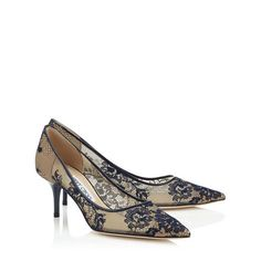 Jimmy Choo Navy Lace Pointy Toe Pumps