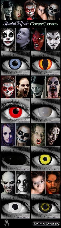 This post is dedicated to our most popular, and best theatrical special effects contact lenses: red vampire, black sclera, white zombie, rotting eye, black wolf, blue vampire, banshee cat-eye & angelic yellow.  http://fxcontactlenses.org  We also showcase these lenses with some of the most popular makeup effects they synergize with.  Follow link above to learn more.