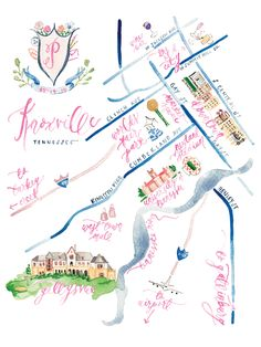 Watercolor Map of Knoxville Tennessee by Simply Jessica Marie