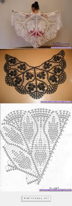 Ideas Crochet Shawl Pattern Diagram Ganchillo For 2019 Crochet Diy, Filet Crochet, Art Au Crochet, Poncho Au Crochet, Pull Crochet, Mode Crochet, Crochet Shawls And Wraps, Crochet Motifs, Crochet Scarves
