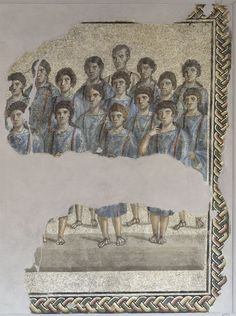 Pavimental polychrome mosaic representing s. c. schola cantorum. Marble, colored stone, glass paste. End of the 2nd — beginning of the 3rd cent. CE. Сapua, The Provincial Museum of Campania, sacristy. (Photo by I. Sh.).