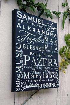 Hand Painted Family Canvas Art with your Own Words - 16x20 Black and White