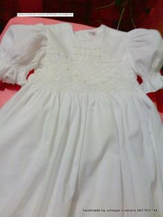 smocked muslin gown 85cm lined 0427820744