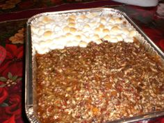 Sweet Potato Casserole If your family is like mine... Half like the pecan topping and half the marshmellows..    I do mine two different ways  1. Stripes of each  2. Center square of pecen mixture.. bake take out an add marshmellows to large corners...