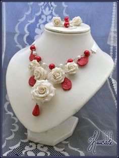 Rose Drop necklace. Handmade from polymer clay and glass pearls