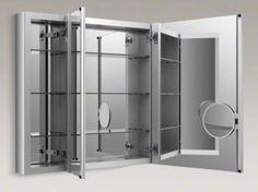 Unique Hinges for Three Door Medicine Cabinet