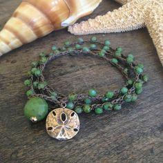 "Sand Dollar Multi Wrap Crochet Bracelet, Anklet, Necklace ""Beach Chic""$34.00"