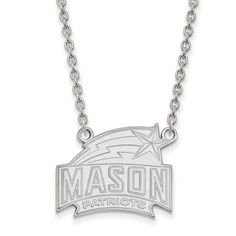 Sterling Silver LogoArt George Mason University Large Pendant w/Necklace