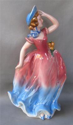 RARE Vintage Goebel Porcelain Art Deco Fashion Lady with Flowers Germany TMK3 | eBay