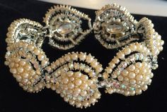 Signed KRAMER Costume Jewelry Chunky Faux Baroque Pearl Surrounded by Goldtone Leaves with Rhinestones Something Old