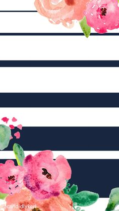 Flower and navy stripe cute wallpaper you can download for free on the blog! For any device; mobile, desktop, iphone, android!