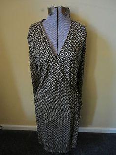 Fabulous & Flattering for any figure...Macy's INC Jersey Silk Wrap Dress Black Tan Geometric Print M $21.99 A Steal!  http://cgi.ebay.com/ws/eBayISAPI.dll?ViewItem=290771564046=STRK:MESE:IT