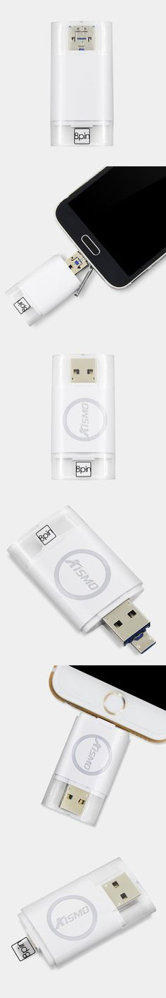 KISMO 3 in 1 Smart Phone USB Flash Drive 8 16 32 64 128gb OTG External Storage 8 Pin&Micro USB Memory Stick for Samsung iPhone