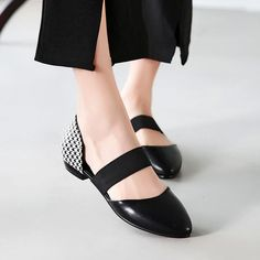Carolbar Women's Bungee Fashion Hounds-Tooth Print Pointed Toe Elegance Low Heel Sandals Shoes >>> Read more reviews of the product by visiting the link on the image. (This is an affiliate link) #shoesoftheday