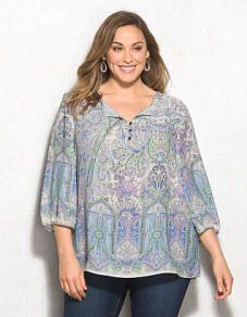 d3e0cfda3a589 Plus Size Mixed Print Peasant Blouse Plus Size Womens Clothing