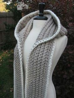Knit snood type scarf