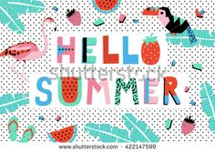 Hello Summer Poster with watermelon, toucan, flamingo and banana leaves. Vector illustration